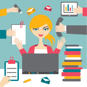 This picture shows an administrative assistant who is efficiently handling all the tasks.